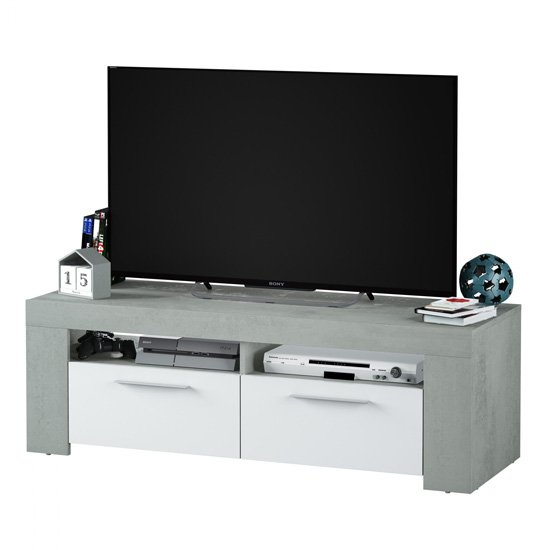Epping Wooden TV Stand In White And Concrete With 2 Doors