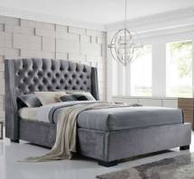 Epsilon Double Bed In Dark Grey Velvet Fabric With Black Legs