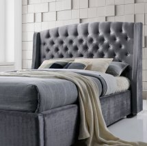 Epsilon Double Bed In Dark Grey Velvet Fabric With Black Legs_2