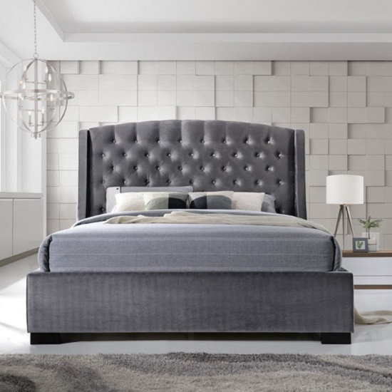 Epsilon King Size Bed In Dark Grey Velvet Fabric 29281