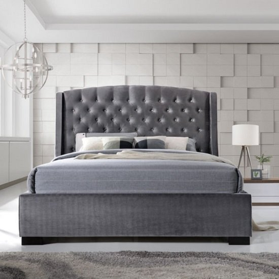 Epsilon Double Bed In Dark Grey Velvet Fabric With Black Legs_3