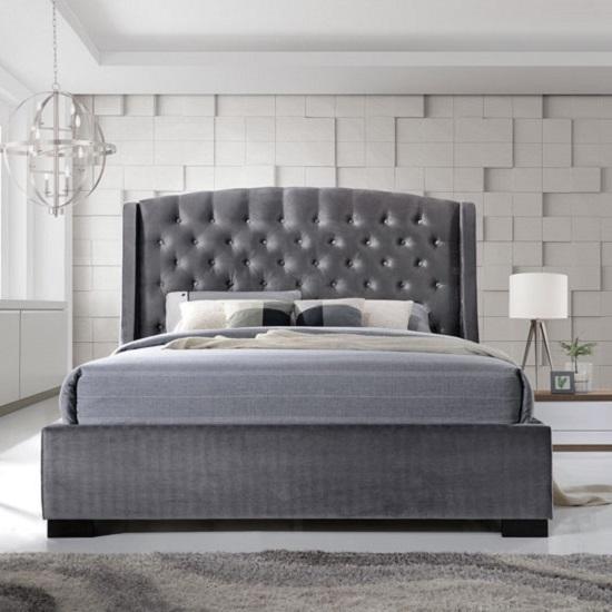 Epsilon Double Bed In Dark Grey Velvet Fabric With Black