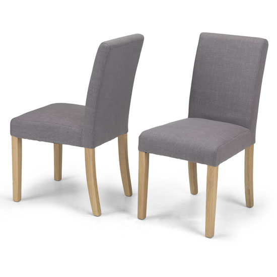 Exotic Grey Fabric Dining Chairs In A Pair With Natural Legs_1