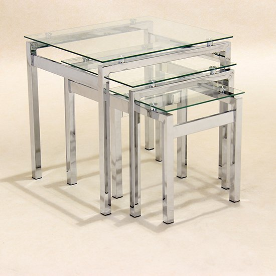 Epsom Set Of 3 Glass Nest of Tables With Chrome Legs