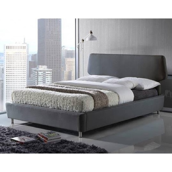 Epsom Modern Bed In Grey Fabric With Chrome Feet