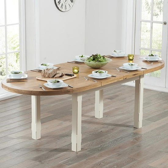 Equlous Extending Dining Table In Oval Oak And Cream