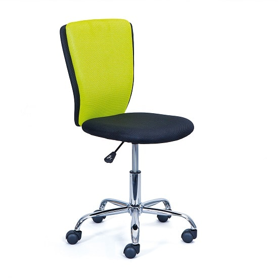 Era Fabric Children Home Office Chair In Green And Black