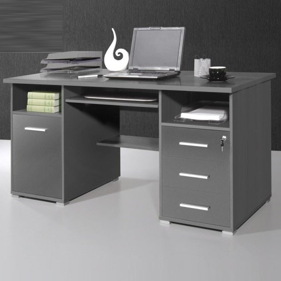 Ergonomic Anthracite Computer Workstation
