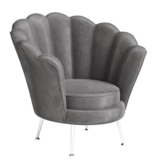 Erica Velvet Fabric Lounge Chair In Dark Grey