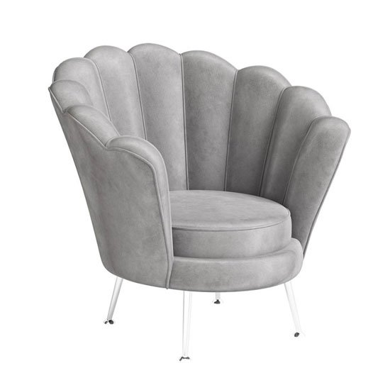 Erica Velvet Fabric Lounge Chair In Silver Grey