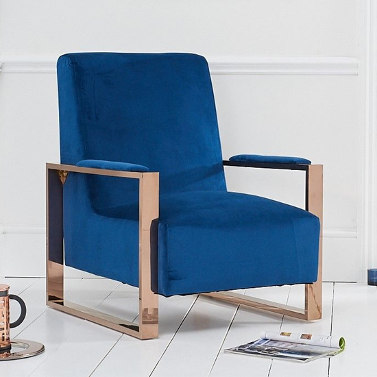 Ericane Velvet Accent Chair In Blue With Rose Gold Frame