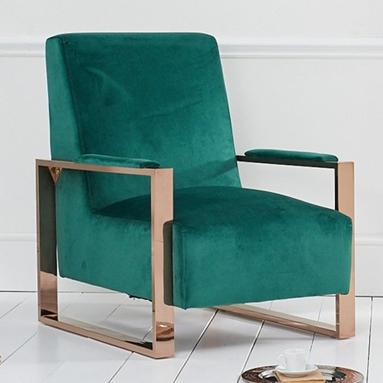 Erocine Velvet Accent Chair In Green With Rose Gold Frame