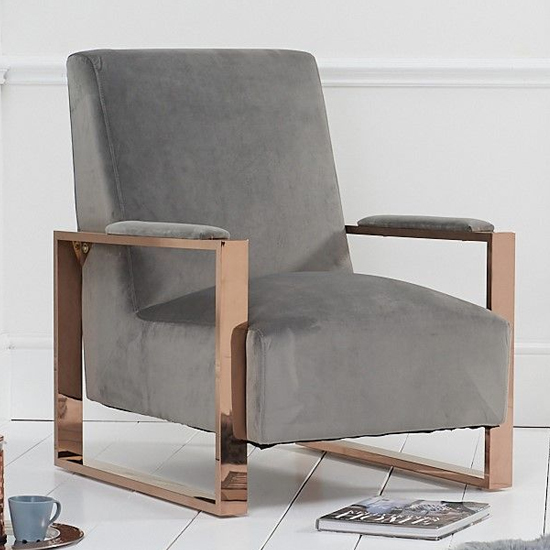 Ericane Velvet Accent Chair In Grey With Rose Gold Frame_1