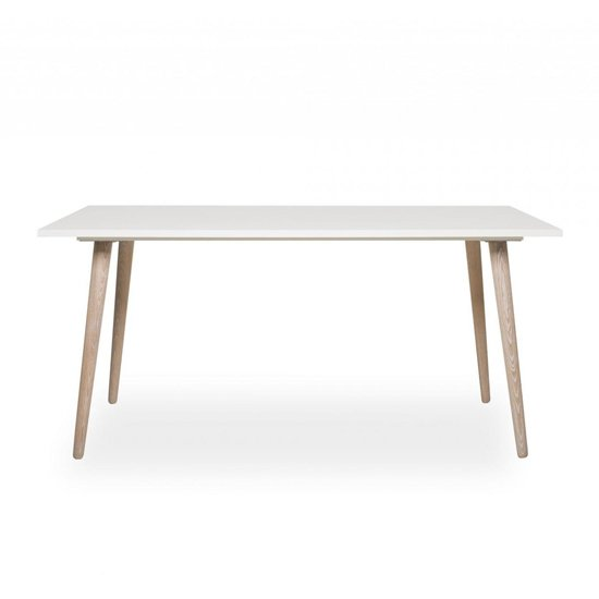 Eridanus Wooden Dining Table In White And Sonoma Oak