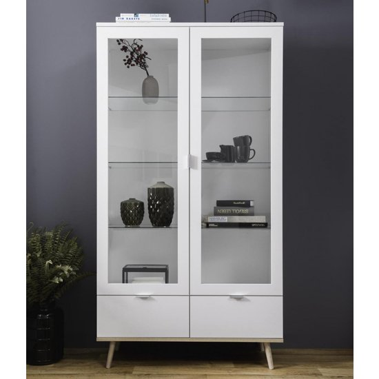 Eridanus Large Wooden Display Unit In White And Sonoma Oak