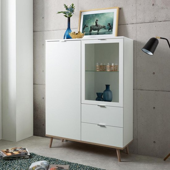 Eridanus Small Wooden Display Unit In White And Sonoma Oak_4
