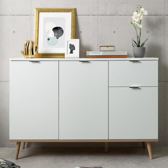 Eridanus Small Wooden Sideboard In White And Sonoma Oak