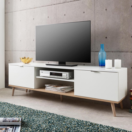 Eridanus Wooden TV Unit In White And Sonoma Oak_5