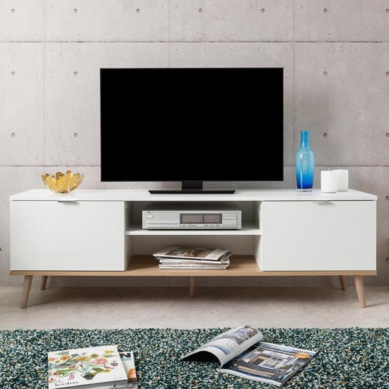 Eridanus Wooden TV Unit In White And Sonoma Oak_1