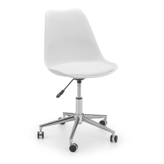 View Erika pu fabric office chair in white and chrome