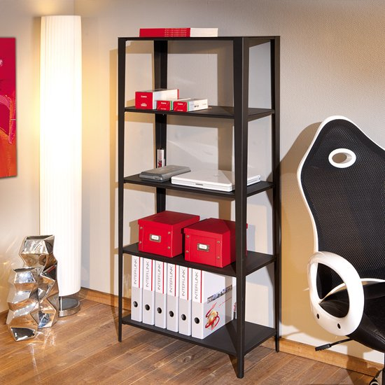 Erina Office Four Tier Shelving Unit in Black Metal