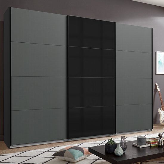Ernesto Sliding Door Large Wooden Wardrobe In Graphite_1