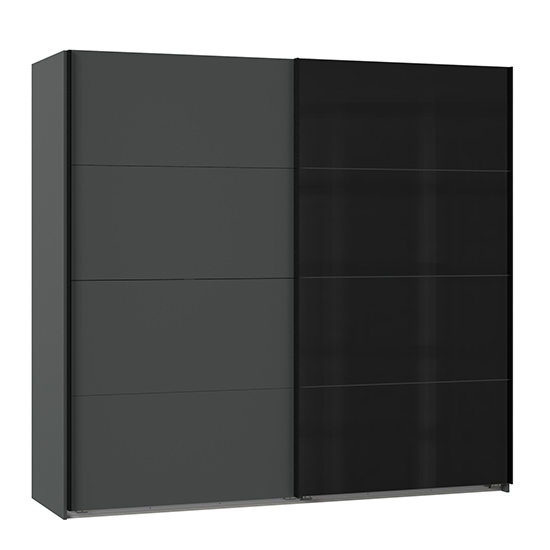 Ernesto Sliding Door Wide Wooden Wardrobe In Graphite