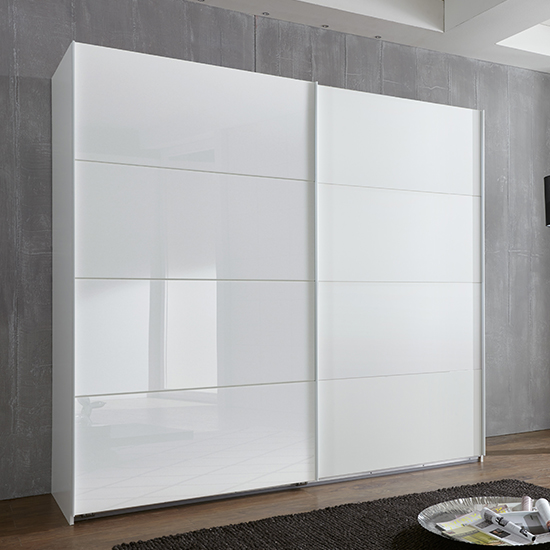 Ernesto Sliding Door Wide Wooden Wardrobe In White