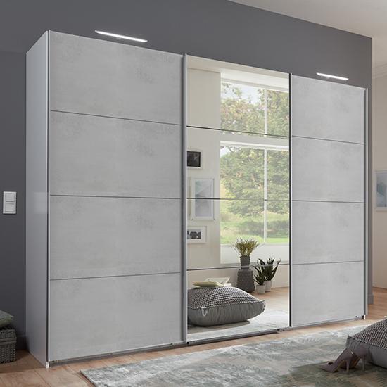 View Ernie sliding door mirrored wide wooden wardrobe in light grey