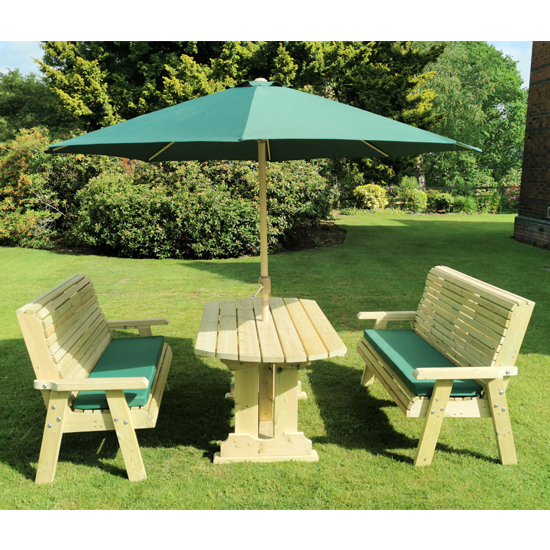 Erog Wooden 6 Seater Dining Set With 2 Benches And Parasol
