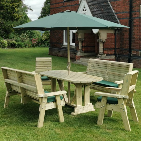 Erog Wooden 6 Seater Dining Set With Benches And Parasol