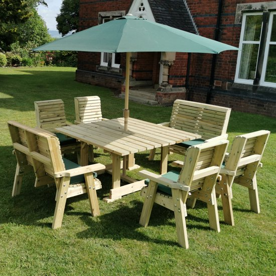 Erog Wooden 8 Seater Dining Set With Chairs And Parasol