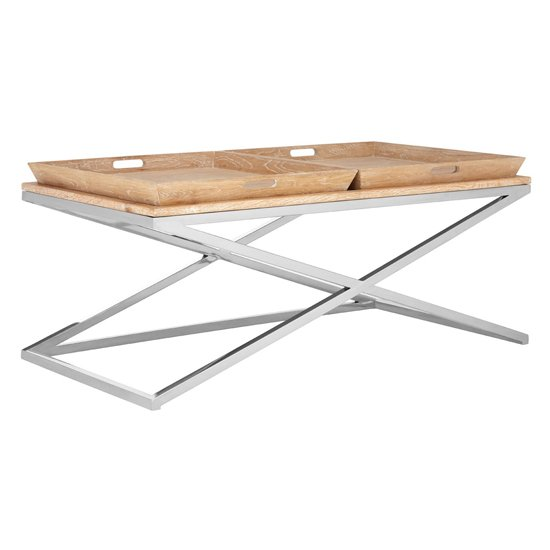 Errai Wooden Coffee Table In Pale Oak
