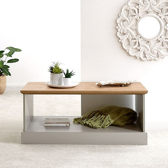 Ervin Wooden Coffee Table In Grey With Oak Effect Top_1