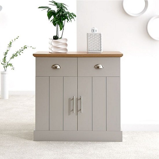 Ervin Compact Sideboard In Grey With Oak Effect Top_1