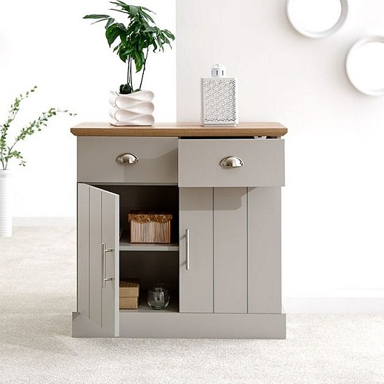 Ervin Compact Sideboard In Grey With Oak Effect Top_2