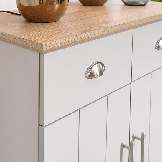 Ervin Compact Sideboard In Grey With Oak Effect Top_3