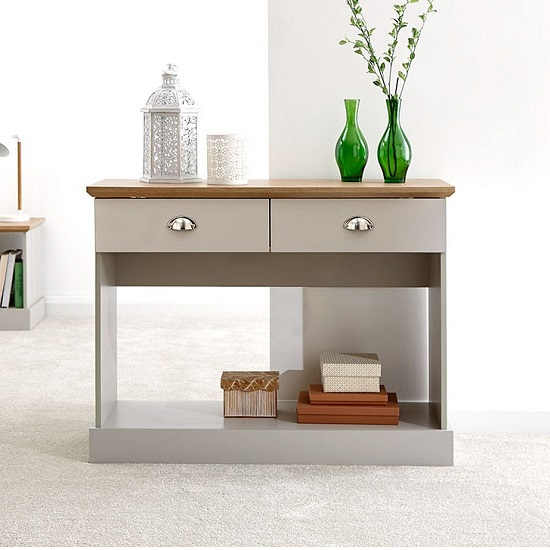 Ervin Wooden Console Table In Grey With Oak Effect Top