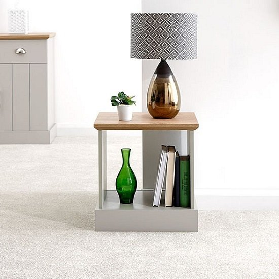 Ervin Wooden Lamp Table In Grey With Oak Effect Top