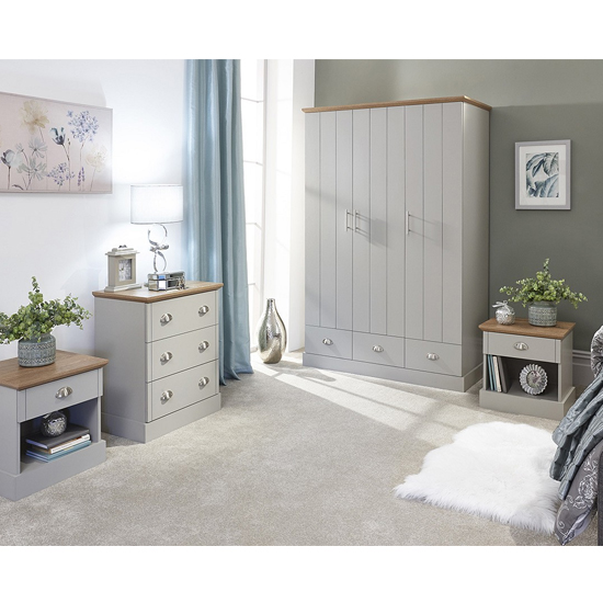 Product photograph showing Ervin Wooden 4pc Bedroom Furniture Set In Grey