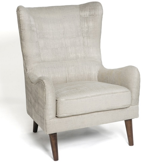 Erwan Fabric Sofa Chair In Cream With Wooden Legs_2