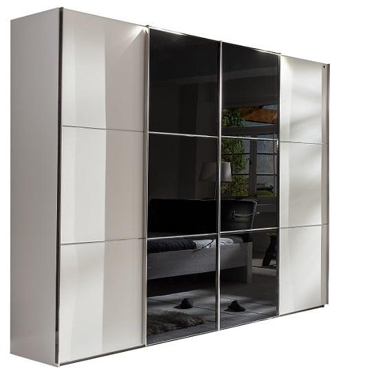 escada sliding wardrobe black white glass %20578%20521 2 - Where To Install White Sliding Door Wardrobes: 3 Helpful Ideas