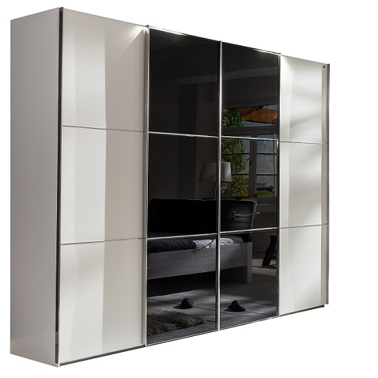 Escada Sliding Wardrobe Alpine White And Black Glass