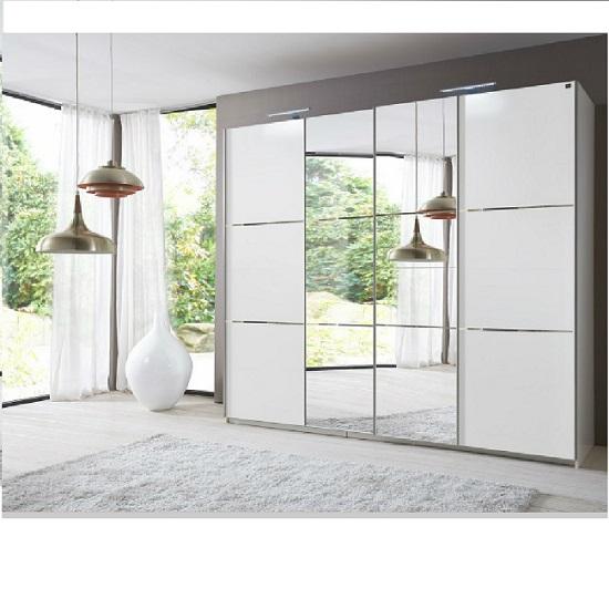 Escada Sliding Wardrobe Alpine White And Mirror Doors 25552