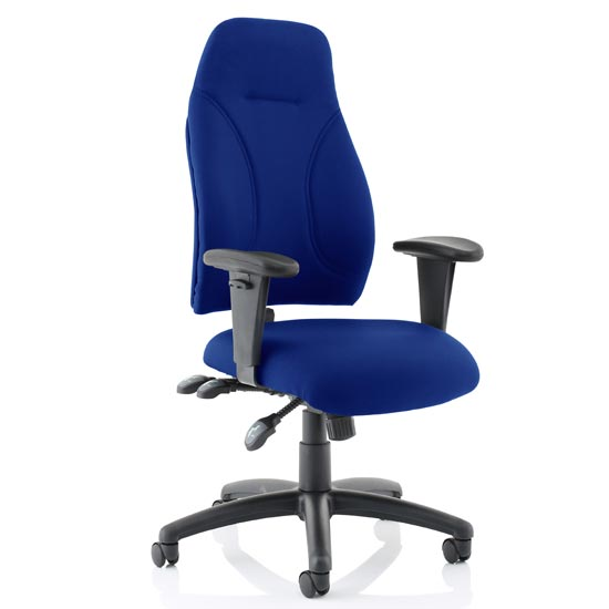 Esme Fabric Posture Office Chair In Blue With Arms