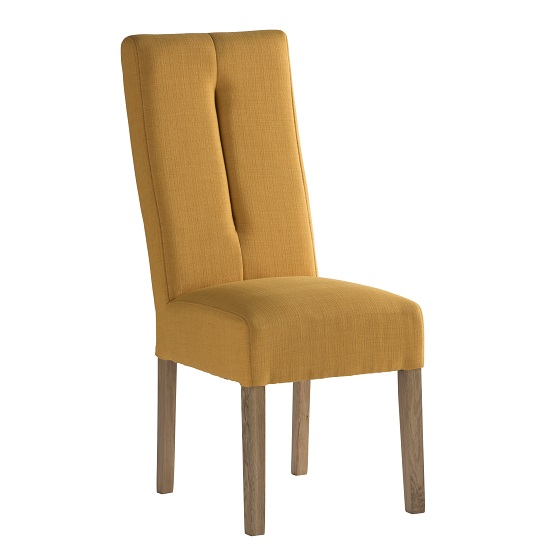 Espero Fabric Dining Chair In Yellow With Wooden Legs 31137