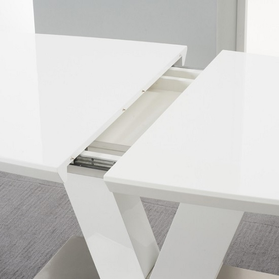 Espero Extendable Dining Table In White Gloss With Metal Base_2