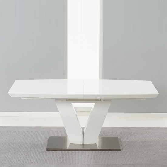 Espero Extendable Dining Table In White Gloss With Metal Base_3
