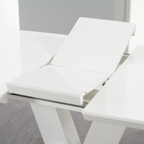 Espero Extendable Dining Table In White Gloss With Metal Base_4