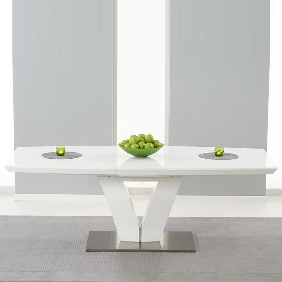Espero Extendable Dining Table In White Gloss With Metal Base_5